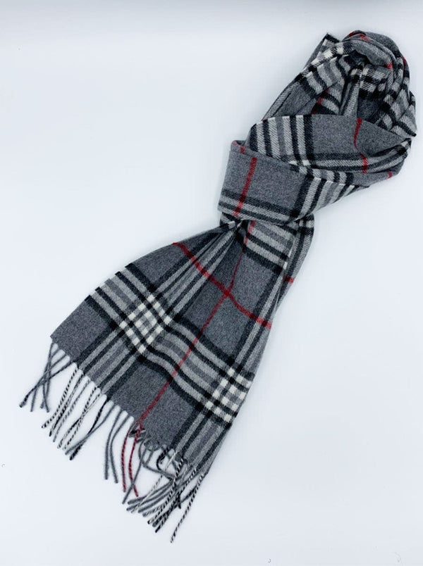 Ascot - Cashmere Checked Scarf - Grey/Black/Red
