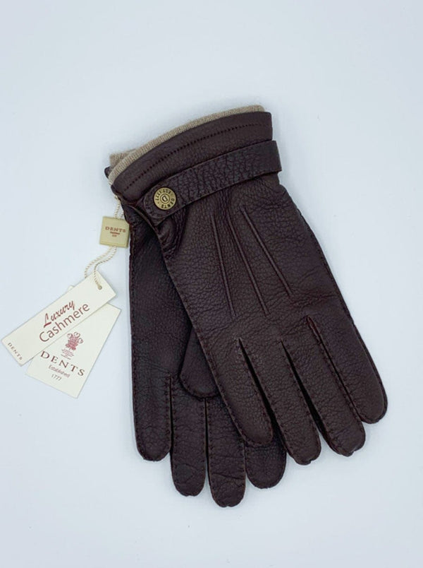 Dents - Cashmere Lined Deerskin Leather Gloves with Cashmere Cuffs - Brown