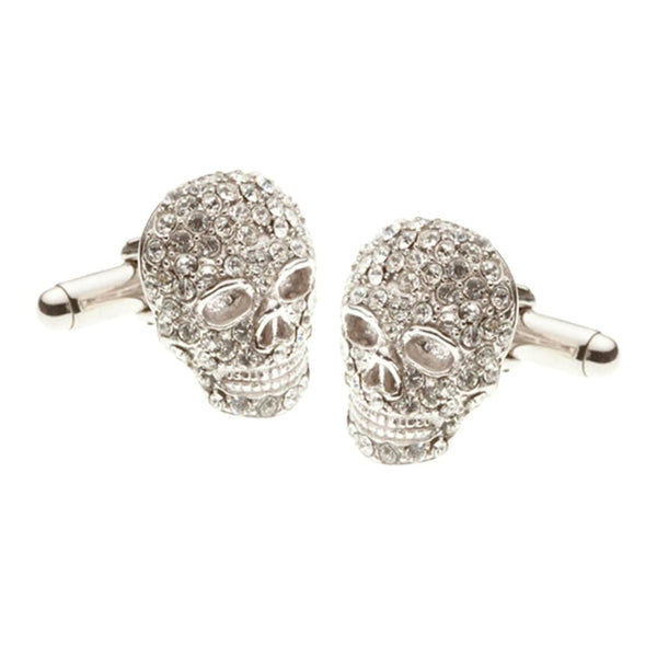 Elizabeth Parker - Mad & Bad Clear Crystal Skull Cufflinks