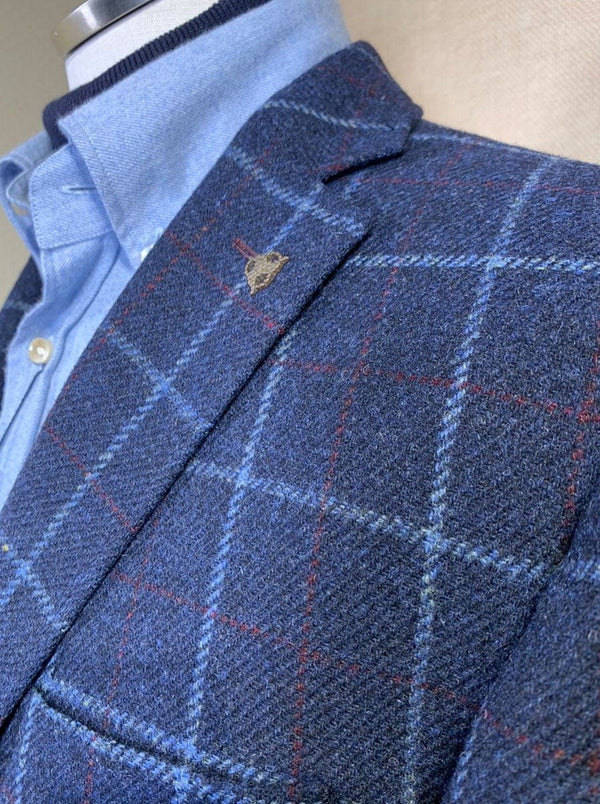 Roy Robson - Regular Fit Wool Windowpane Check Jacket With Over Check