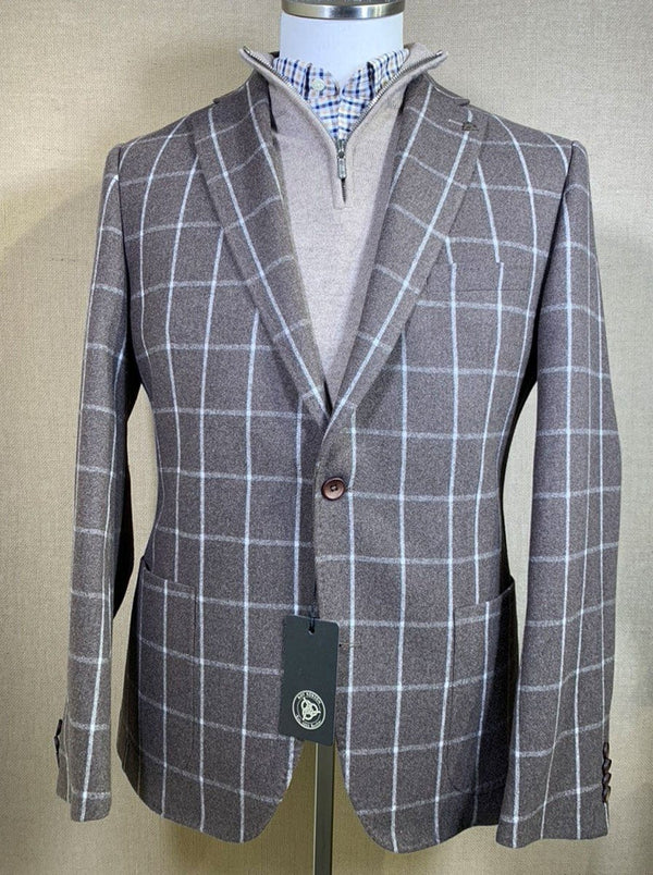 Roy Robson - Regular Fit Wool Mix Windowpane Check Jacket