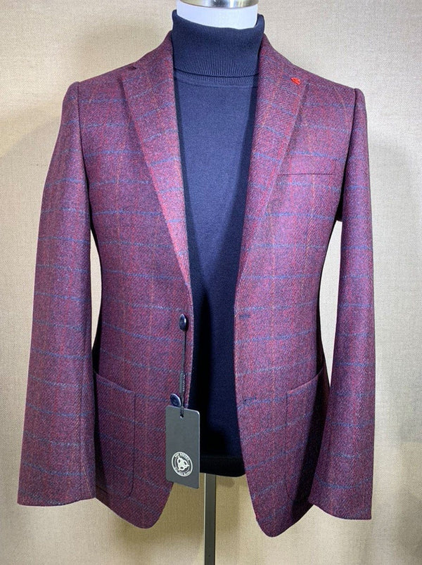 Roy Robson - Slim Fit Wool Windowpane Check Jacket With Over Check