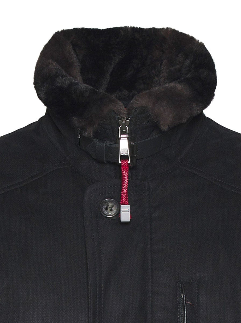 Bugatti - Coat With Plush Faux Fur Collar - Black