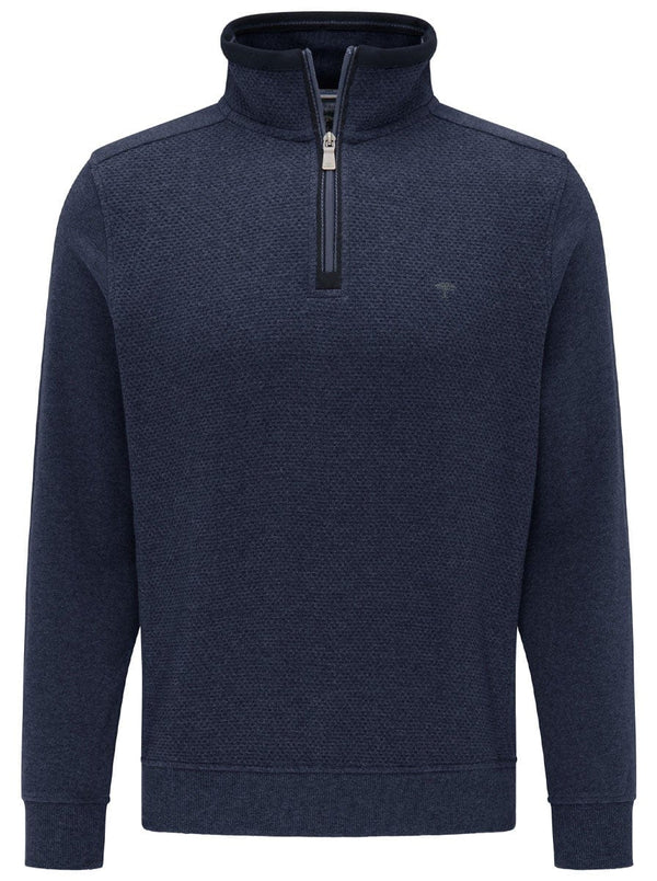 Fynch Hatton - 1/4 Zip Sweater With Textured Front - Colour Navy