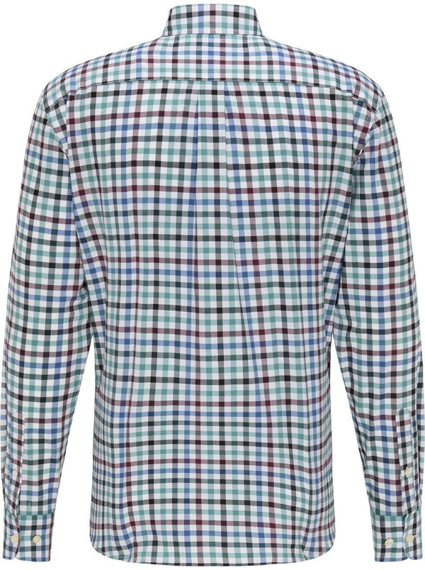 Fynch Hatton - Super Soft Multi Check Casual Shirt - Colour Pine/Merlot/Blue