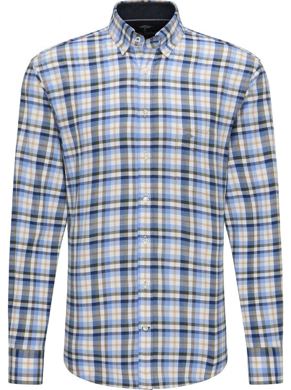 Fynch Hatton - Super Soft Brushed Cotton Check - Colour Sage/Tan/Blue