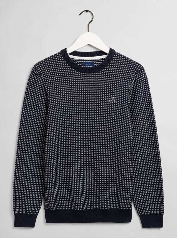GANT Crew Neck Fishermans Sweater - Colour Evening Blue