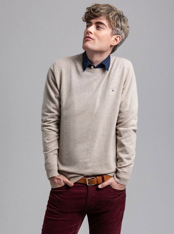 GANT Crew Neck Lightweight Lambswool Jumper - Colour Dark Sand Melange