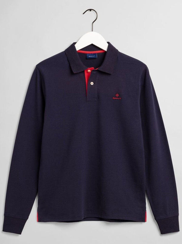 GANT Contrast Collar Long Sleeve Piqué Polo Shirt - Colour Evening Blue