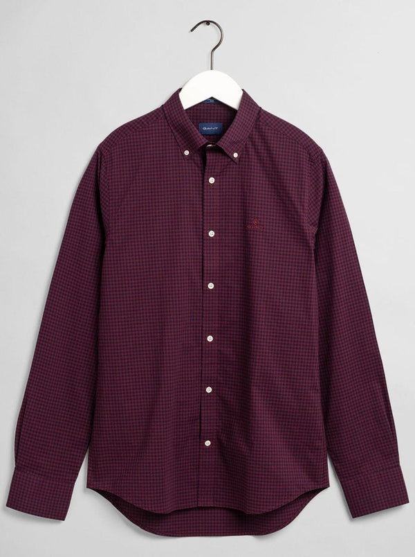 GANT - 2 Colour Gingham Broadcloth Shirt - Port Red