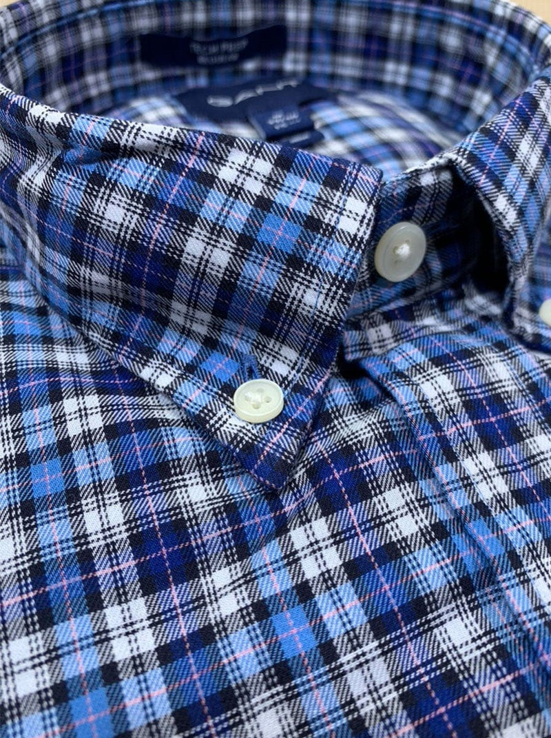 GANT Tech Prep™ Micro Tartan Twill Shirt - Colour Pacific Blue