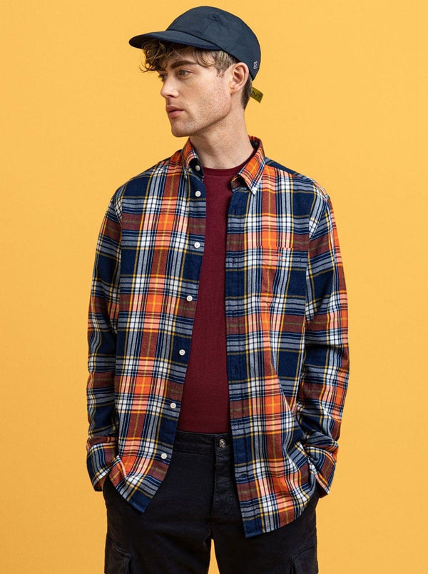 GANT Indigo Windblown Flannel Shirt - Dark Orange