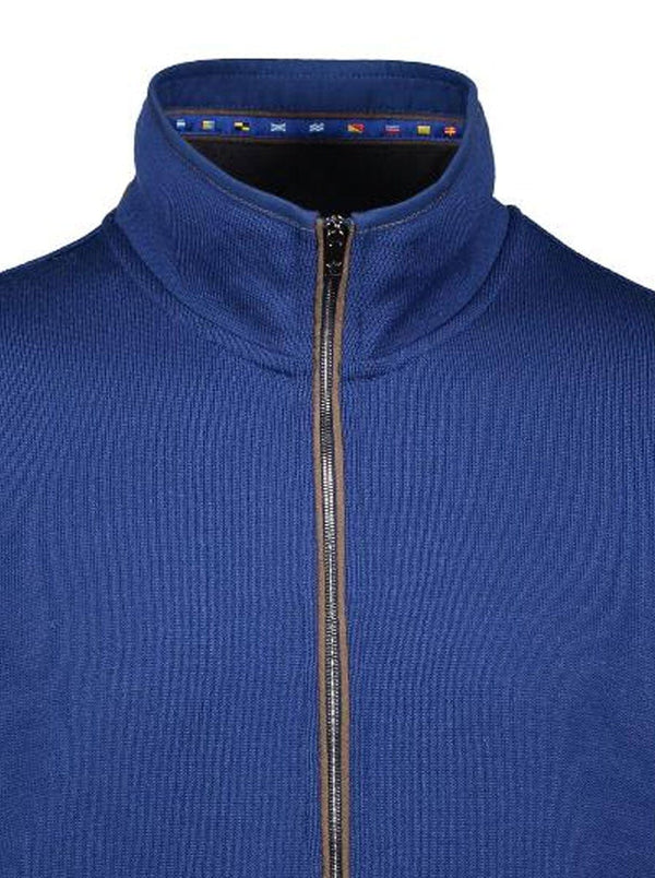 Paul & Shark Full Zip Jumper With Suede Trim Detail- Colour Bright Blue