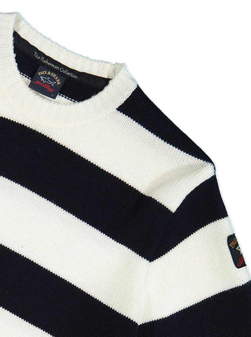 Paul & Shark Fishermans Knit Stripped Jumper - Colour Navy / Off White