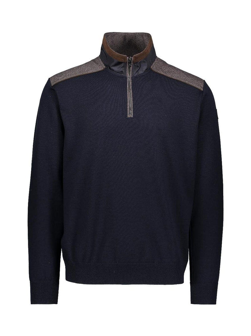 Paul & Shark Half Zip Wool Jumper With Cord Trim - Colour Navy
