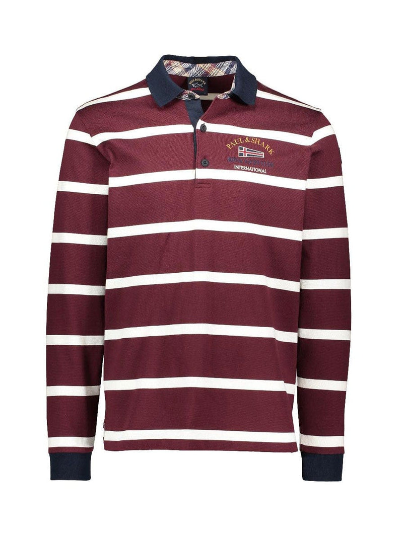 Paul & Shark Royal Yacht Club Striped Rugby Shirt - Burgundy / Off White