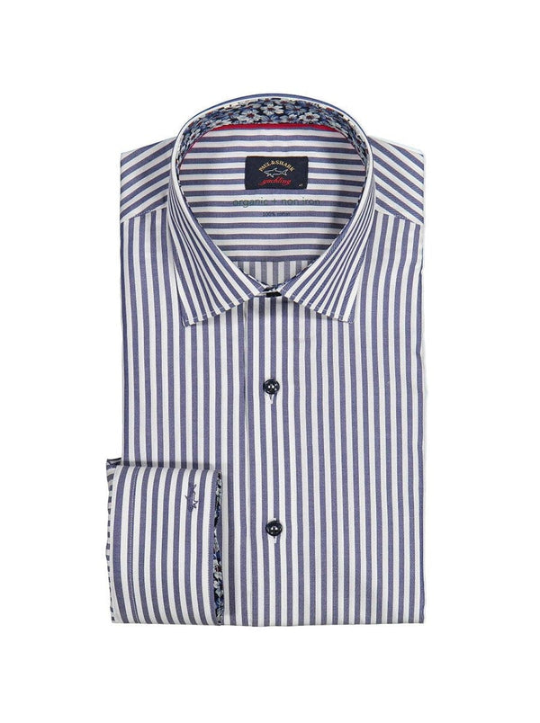 Paul & Shark Striped Shirt With Floral Contrast Collar & Cuff Trim - Colour Navy