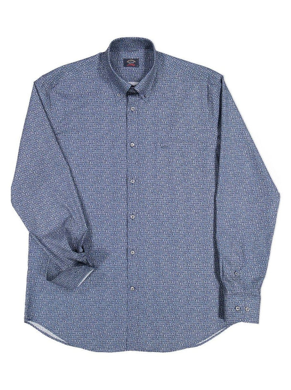 Paul & Shark Logo Print Shirt - Colour Blue