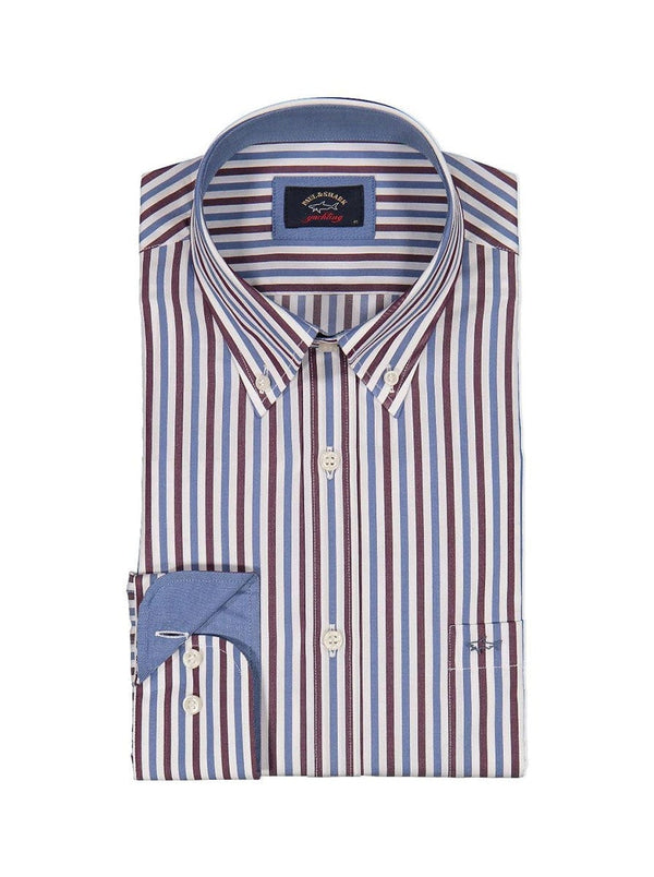 Paul & Shark Striped Shirt With Contrast Collar & Cuff Trim - Colour Aubergine / Sky