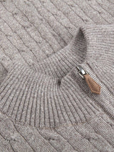 Sterströms - Merino Cable Half Zip - Colour Stone