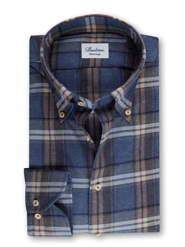 Sterströms - Checked Flannel Fitted Body Shirt - Colour Blue