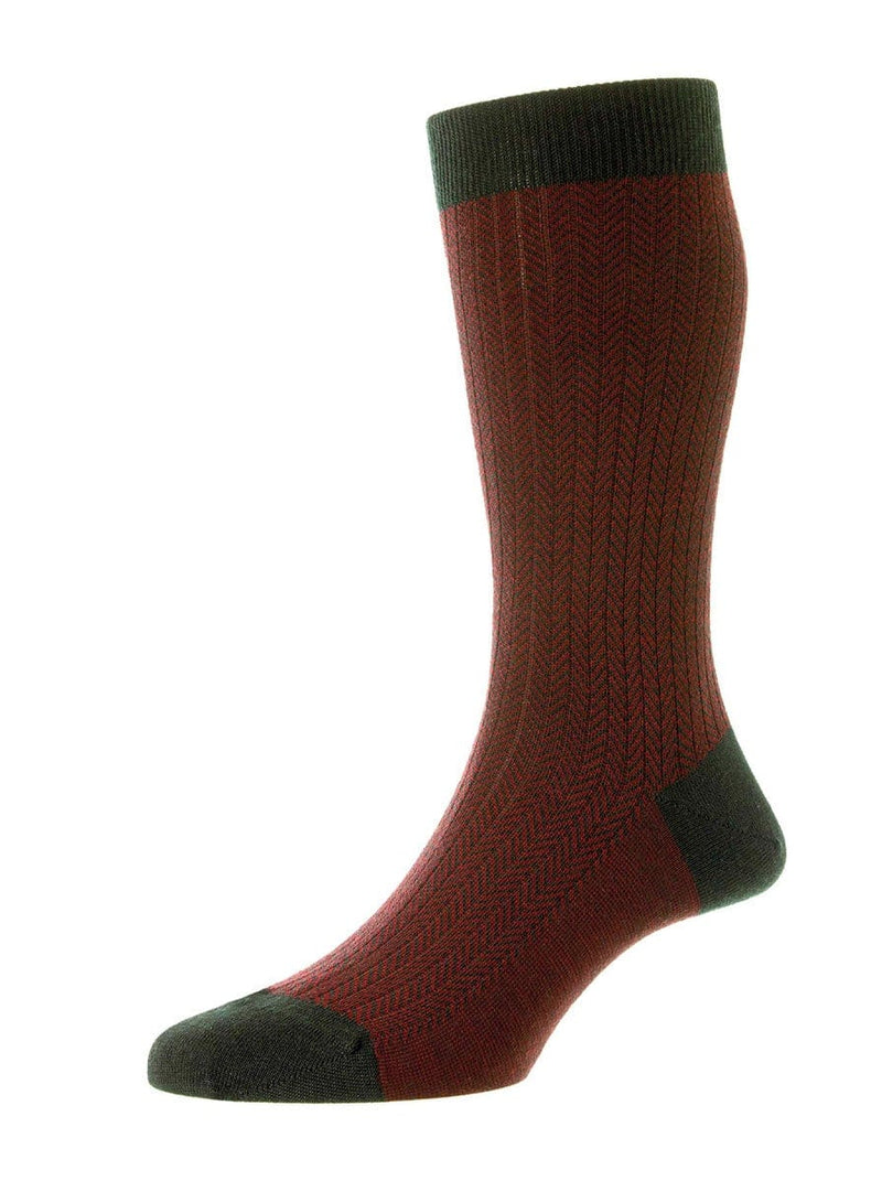 Pantherella - Finsbury - Herringbone Merino Wool Men's Socks - Racing Green