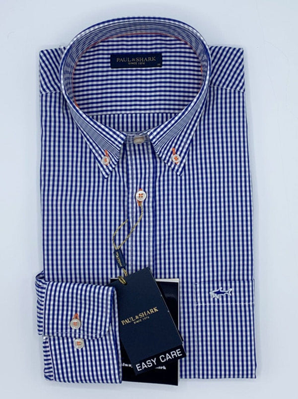 Paul & Shark Gingham Small Check Shirt - Colour Blue