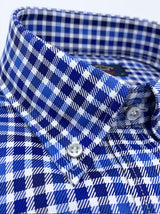 Paul & Shark Silver Collection Twill Check Shirt - Colour Blue