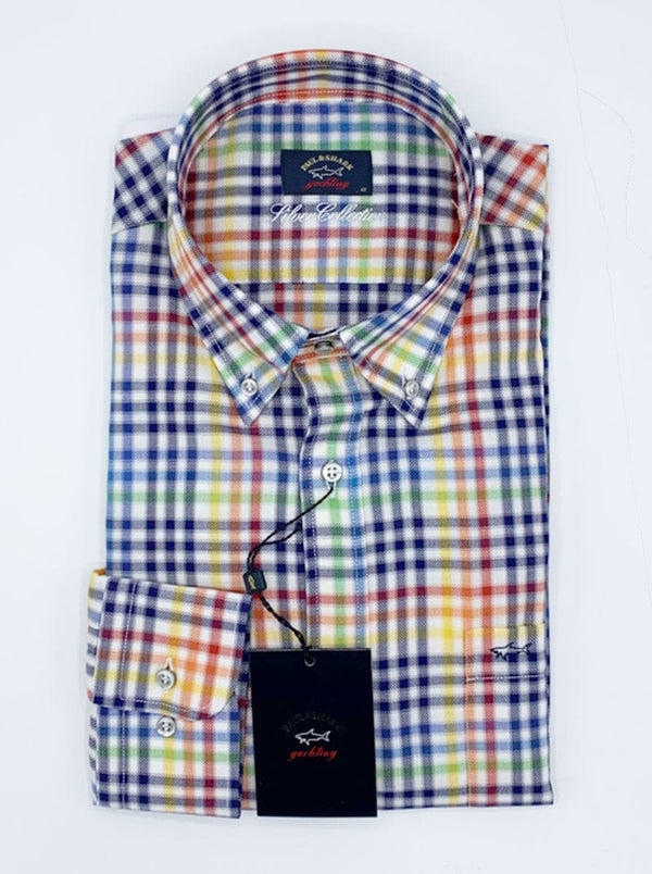 Paul & Shark Silver Collection Multi Check Shirt - Colour Blue/White/Yellow/Green/Red
