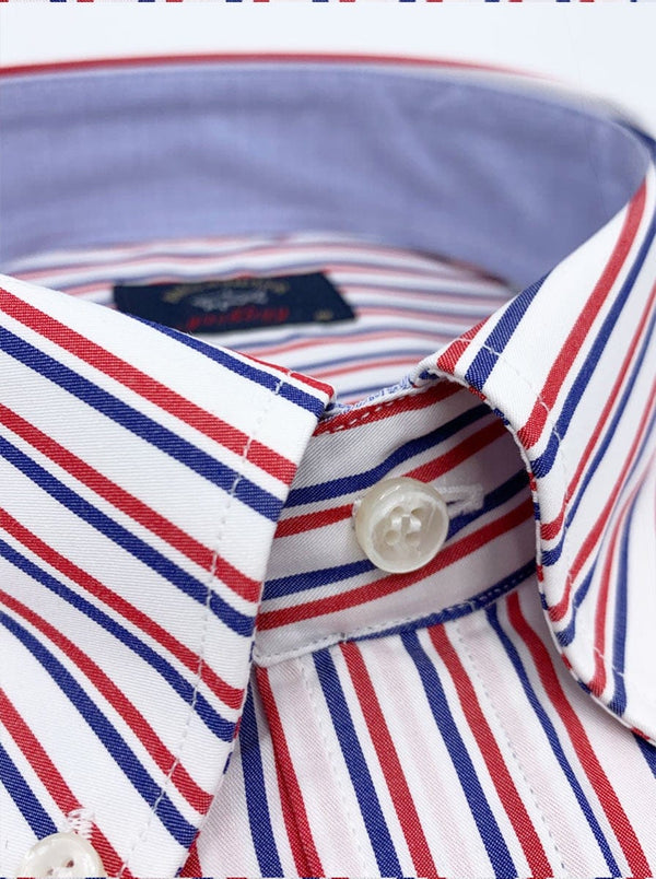 Paul & Shark Tram Stripe Shirt - Colour Blue/Red