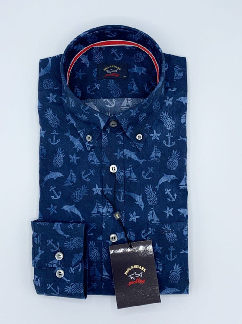 Paul & Shark Nautical Print Shirt - Colour Denim