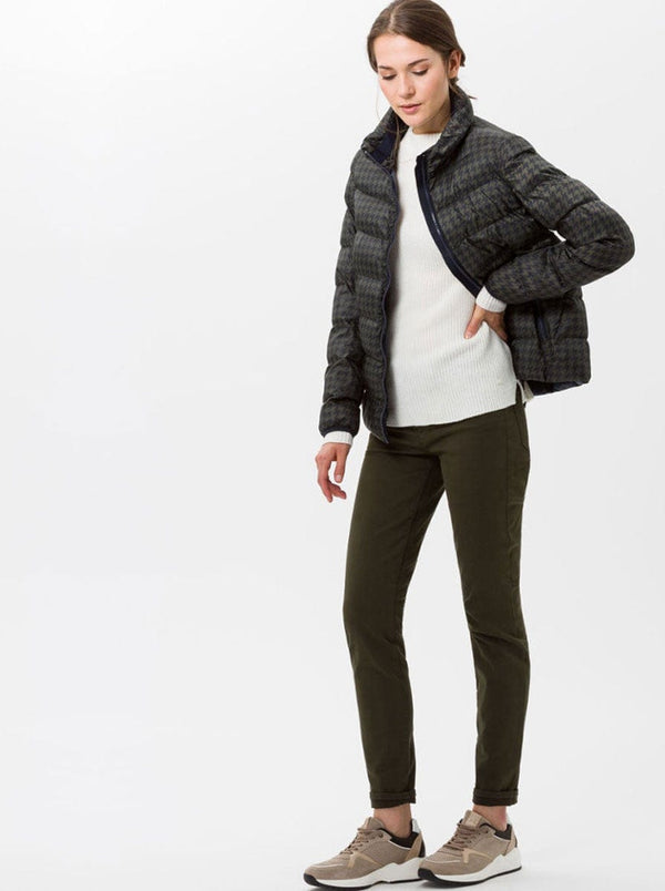 Brax - Houndstooth Down Jacket - Luzern - Navy / Olive
