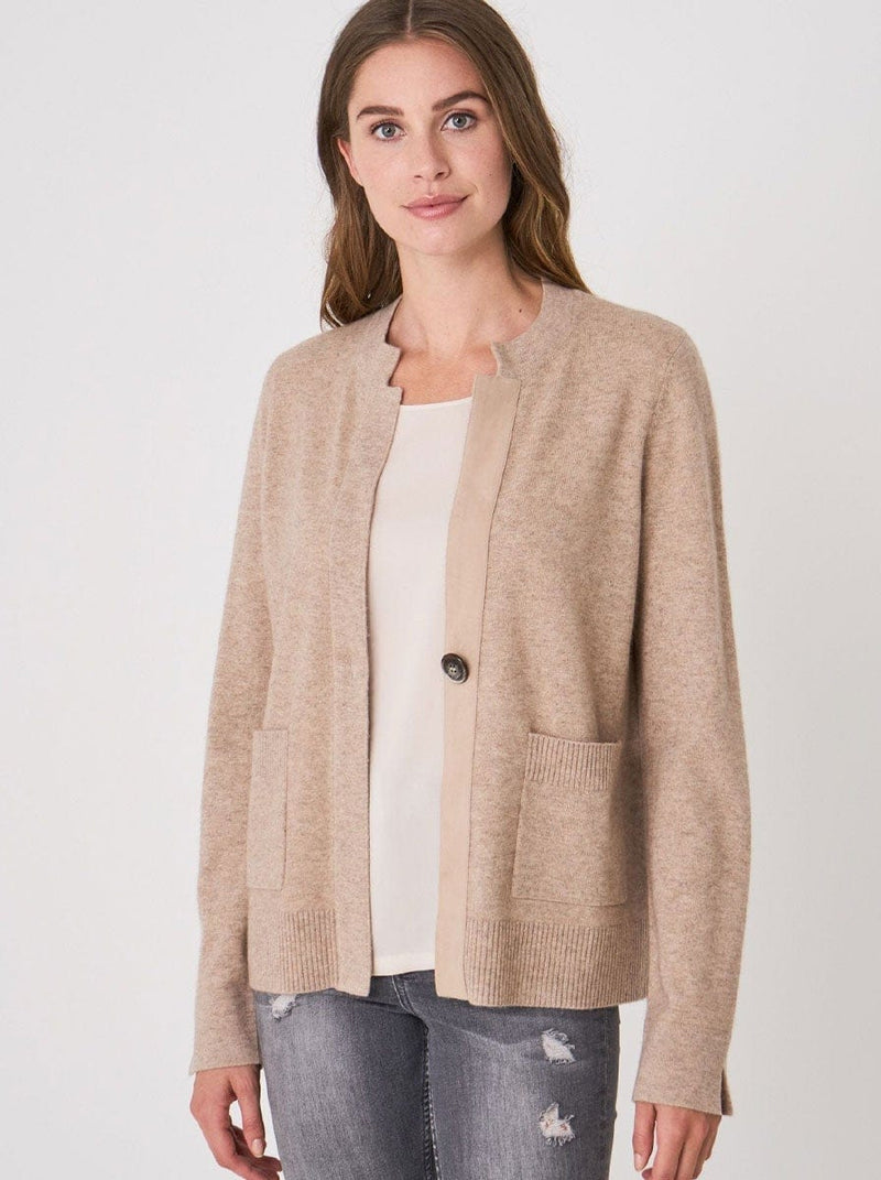 Repeat - Cashmere Blend Cardigan With Suede Button Placket - Colour Sand