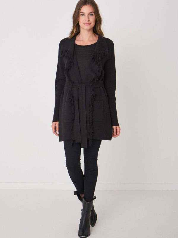 Repeat - Fringed Long Cardigan With Belt - Colour Black