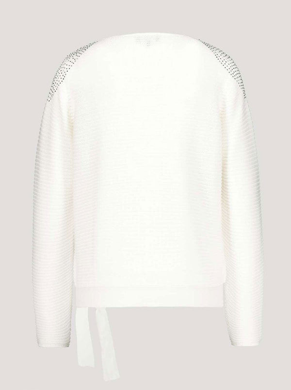 Monari - Ribbed knitted jumper with stud detail