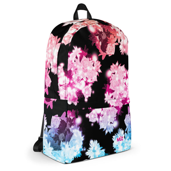 "m ū z ""Jade"" Black Floral backpack"