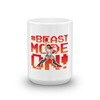 graphic image of a female bodybuilder with the words Beast Mode On! on a coffee mug  presented by Star Showroom