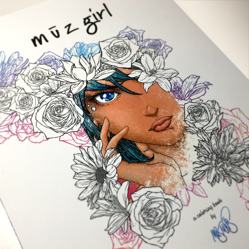 m ū z girl: a Coloring Book by Mark Muñoz