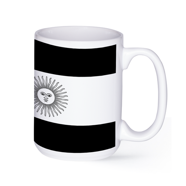 graphic image of a black and white flag of Argentina on a coffee mug  presented by Star Showroom