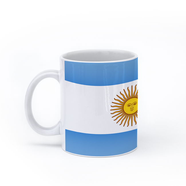 graphic image of the flag of Argentina on a coffee mug  presented by Star Showroom
