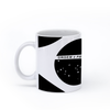 graphic image of a black and white flag of Brazil on a coffee mug  presented by Star Showroom