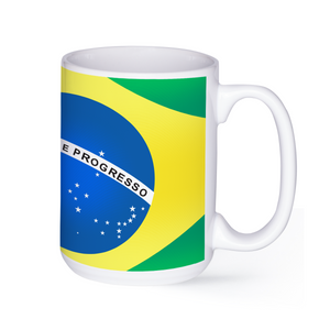 graphic image of the flag of Brazil on a coffee mug  presented by Star Showroom