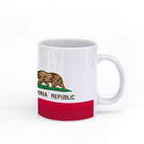 graphic image of the flag of California on a coffee mug  presented by Star Showroom