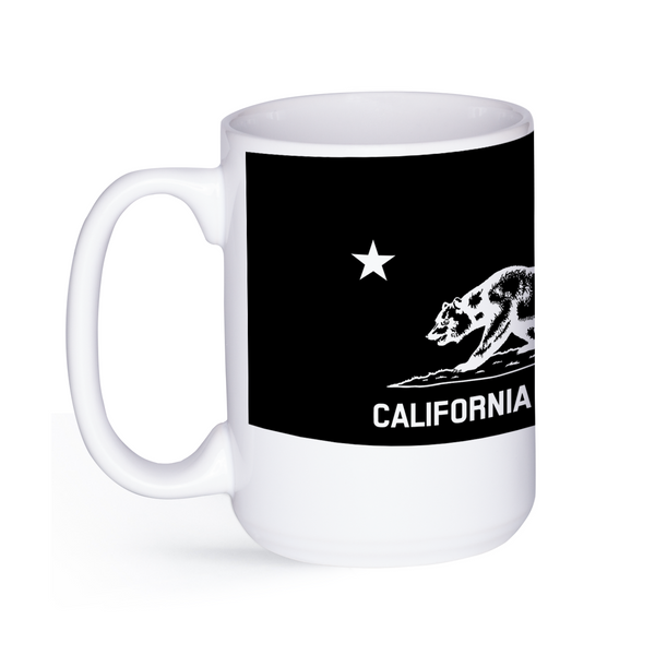 graphic image of a black and white flag of California on a coffee mug  presented by Star Showroom