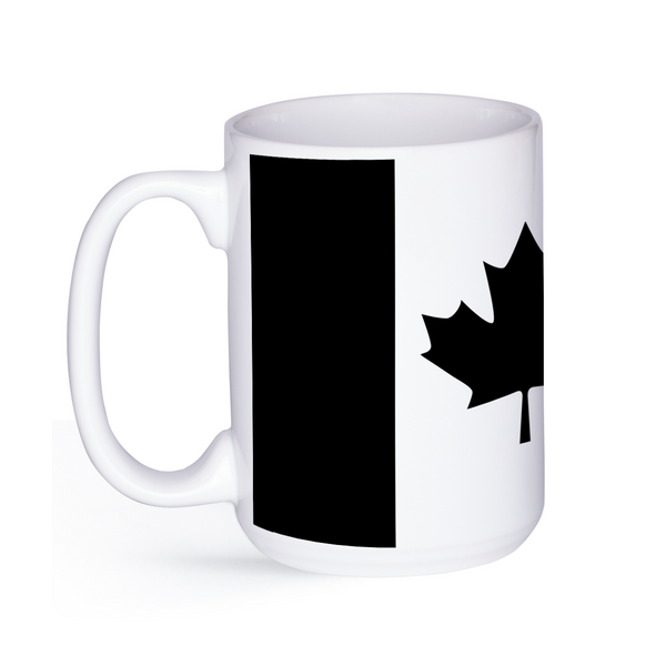 graphic image of a black and white flag of Canada on a coffee mug  presented by Star Showroom