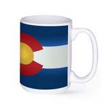 graphic image of the flag of Colorado on a coffee mug  presented by Star Showroom