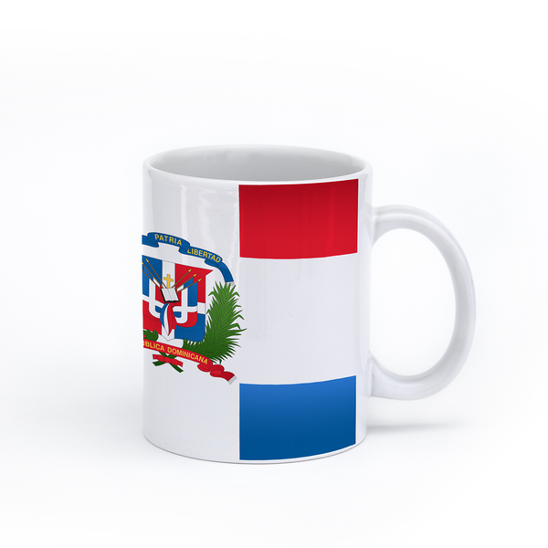 graphic image of the flag of the Dominican Republic on a coffee mug  presented by Star Showroom