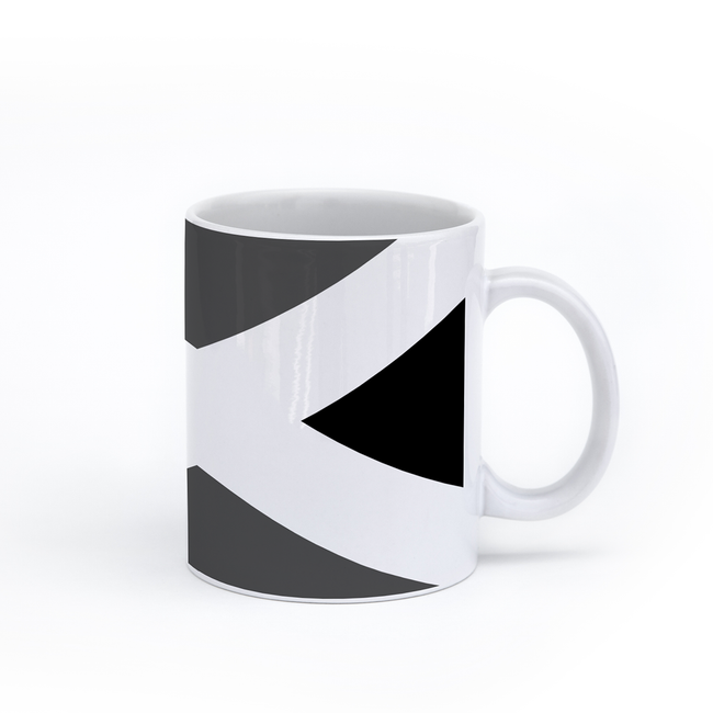 graphic image of a black and white flag of Jamaica on a coffee mug  presented by Star Showroom