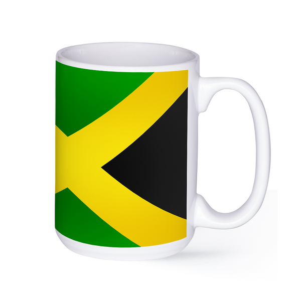graphic image of the flag of Jamaica on a coffee mug  presented by Star Showroom