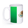 graphic image of a black and white flag of Mexico on a coffee mug  presented by Star Showroom